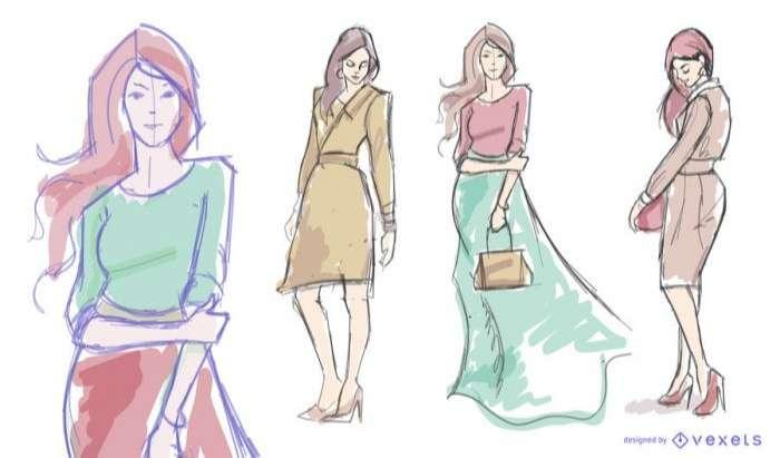Women model fashion drawing set