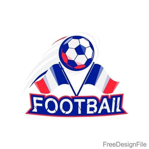 Football logos with flag design vector