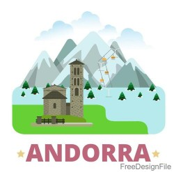 Andorra travel elements design vector