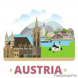 Austria travel elements design vector