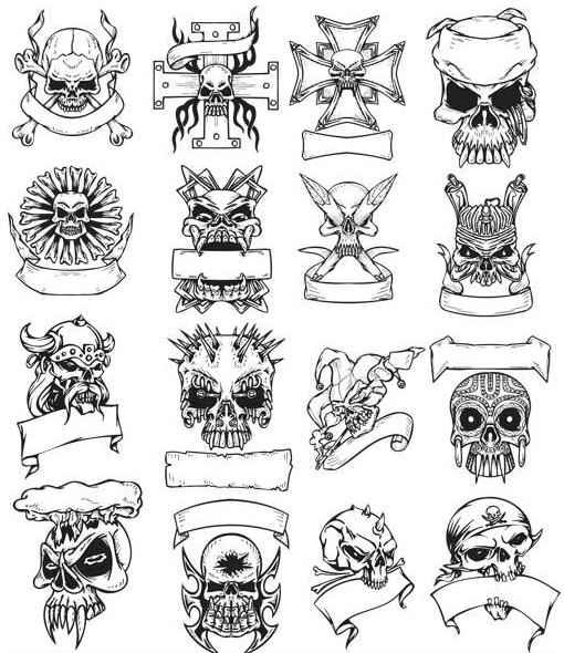 Tattoo with skulls free shiny vector