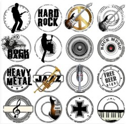 Grunge Music Labels vector