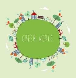 Cartoon green world 3 vector
