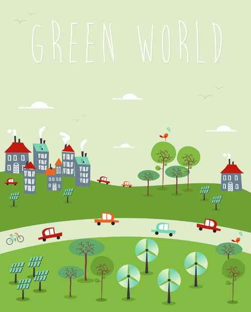 Cartoon green world 7 vector