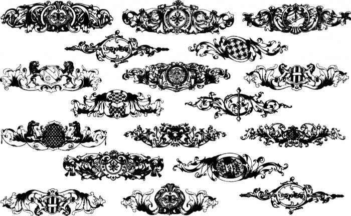 Baroque floral elements Vector