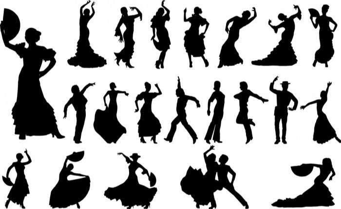 Flamenco dancers silhouette