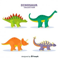 Flat dinosaur collection Vector