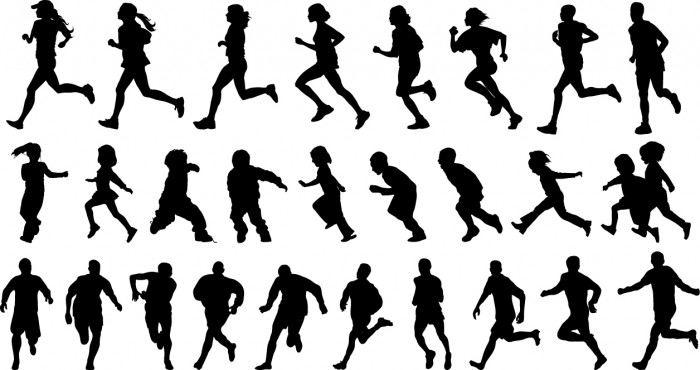 People running silhouette