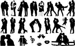 Romantic kisses silhouette