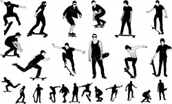 Skateboarders silhouette