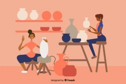 People making pottery flat design