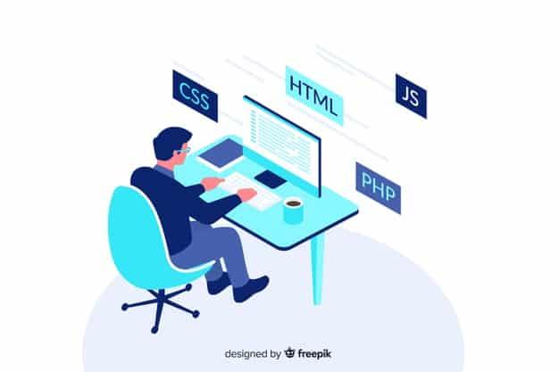 Programmer decorative illustration isometric design