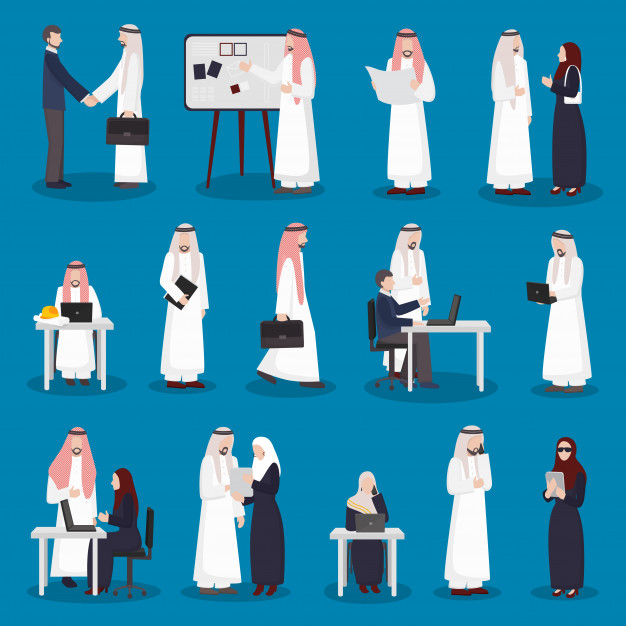Arabian business characters set