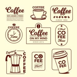 Coffee minimal logo element collection