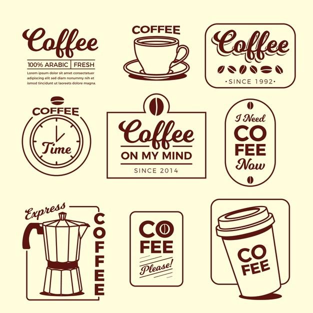 Coffee minimal logo element collection