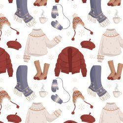 Flat design winter clothes & essentials