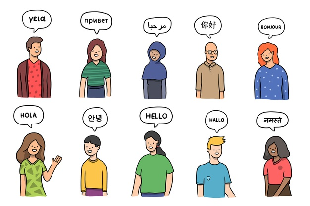 Group of people talking in different languages