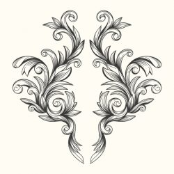 Realistic hand drawn baroque style ornamental border