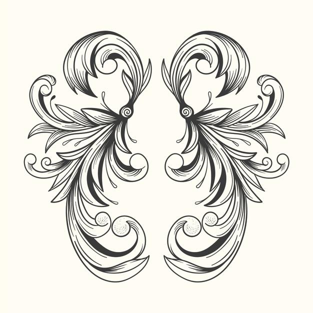 Realistic hand drawn ornamental border in baroque style
