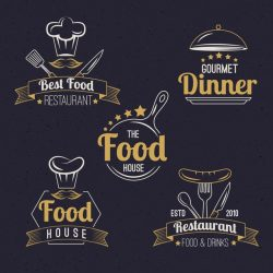 Restaurant retro logo pack