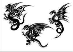 Flying dragon tatoo silhouette vector
