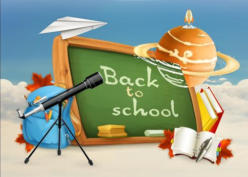 School blackboard and teaching equipment vector