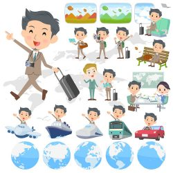 suit short hair beard man travel vector