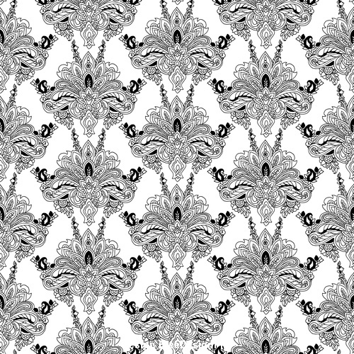 Black and white seamless floral pattern ornament vector