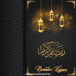 Black background and yellow light Ramadan Kareem vector greeting card vector
