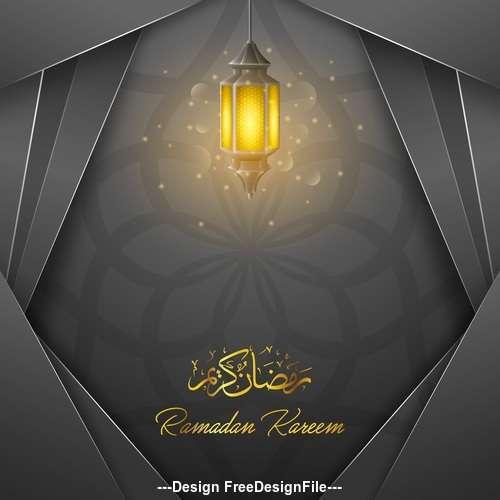 Black background Ramadan Kareem vector greeting card vector 01