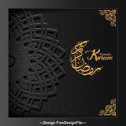 Black background Ramadan Kareem vector greeting card vector 03