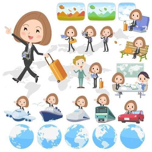 Black jacket pants business woman travel vector
