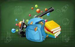 Schoolbag and astronomical telescope book vector