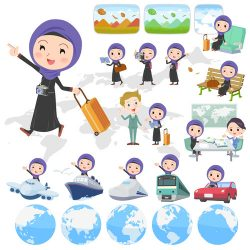 Arab woman travel cartoon vector