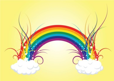 Rainbow Clouds design vector
