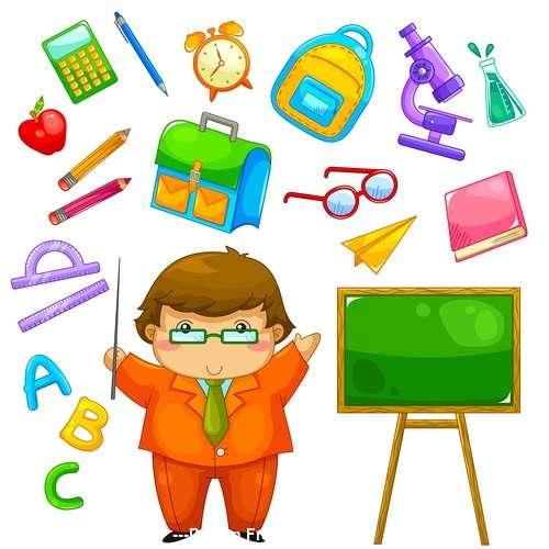 Cartoon teacher and school supplies vector