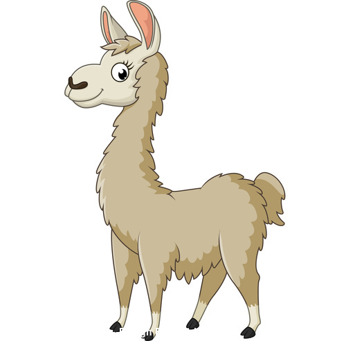 Cute cartoon alpaca vector