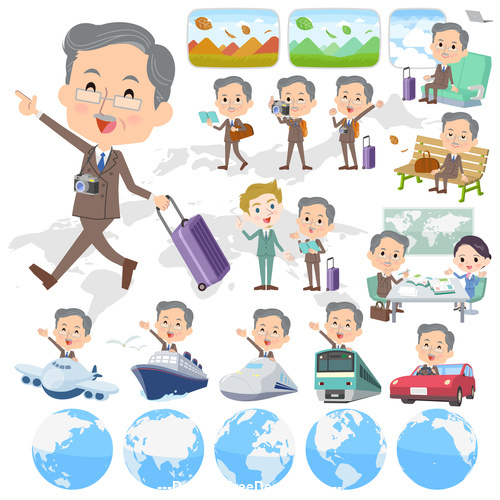 Double suit beard old man travel vector