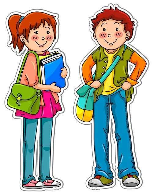 Cartoon pupils vector