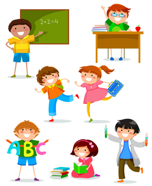 Cartoon school children vector