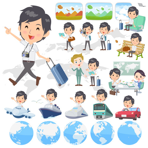White short sleeved man travel vector