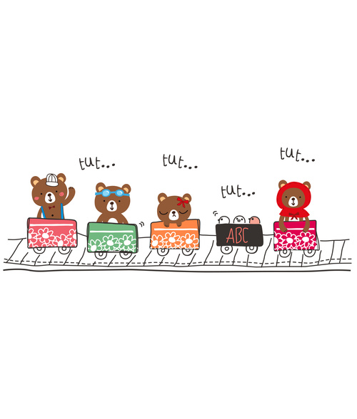 bear and friends doodle vector