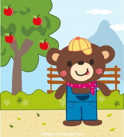 bear in the apple orchard vector