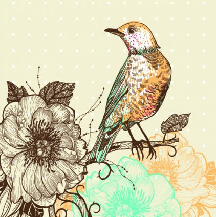 floral backgrounds with birds 2 vectors graphic