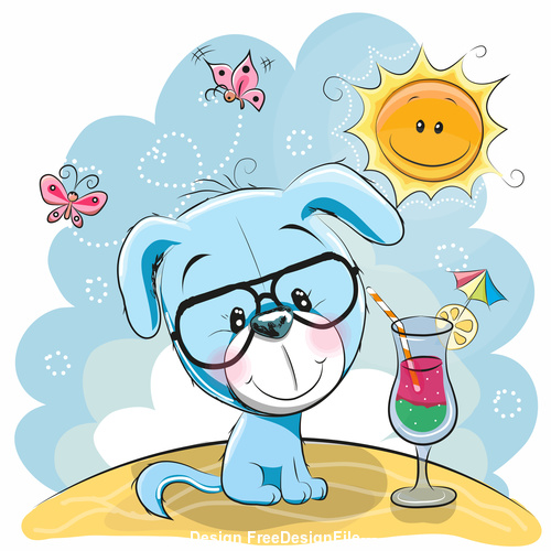 Lovely puppy cartoon vector