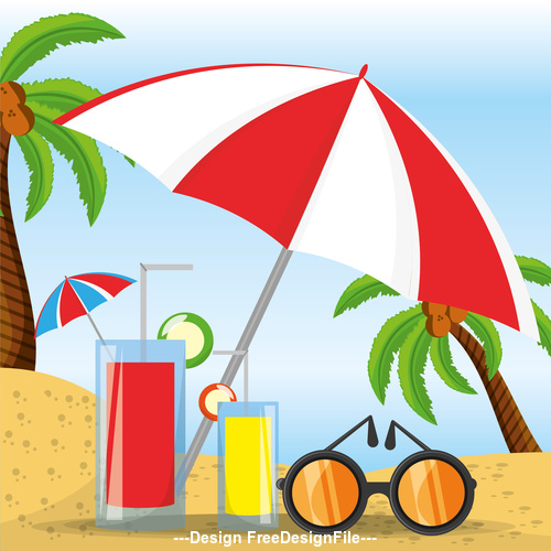 Summer sunny beach vacation vector