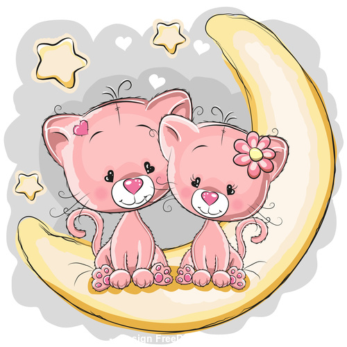 Animal cartoon vector sitting on curved moon