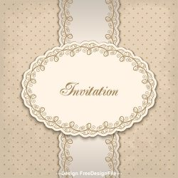 Vintage invitation lacy damask decoration 01