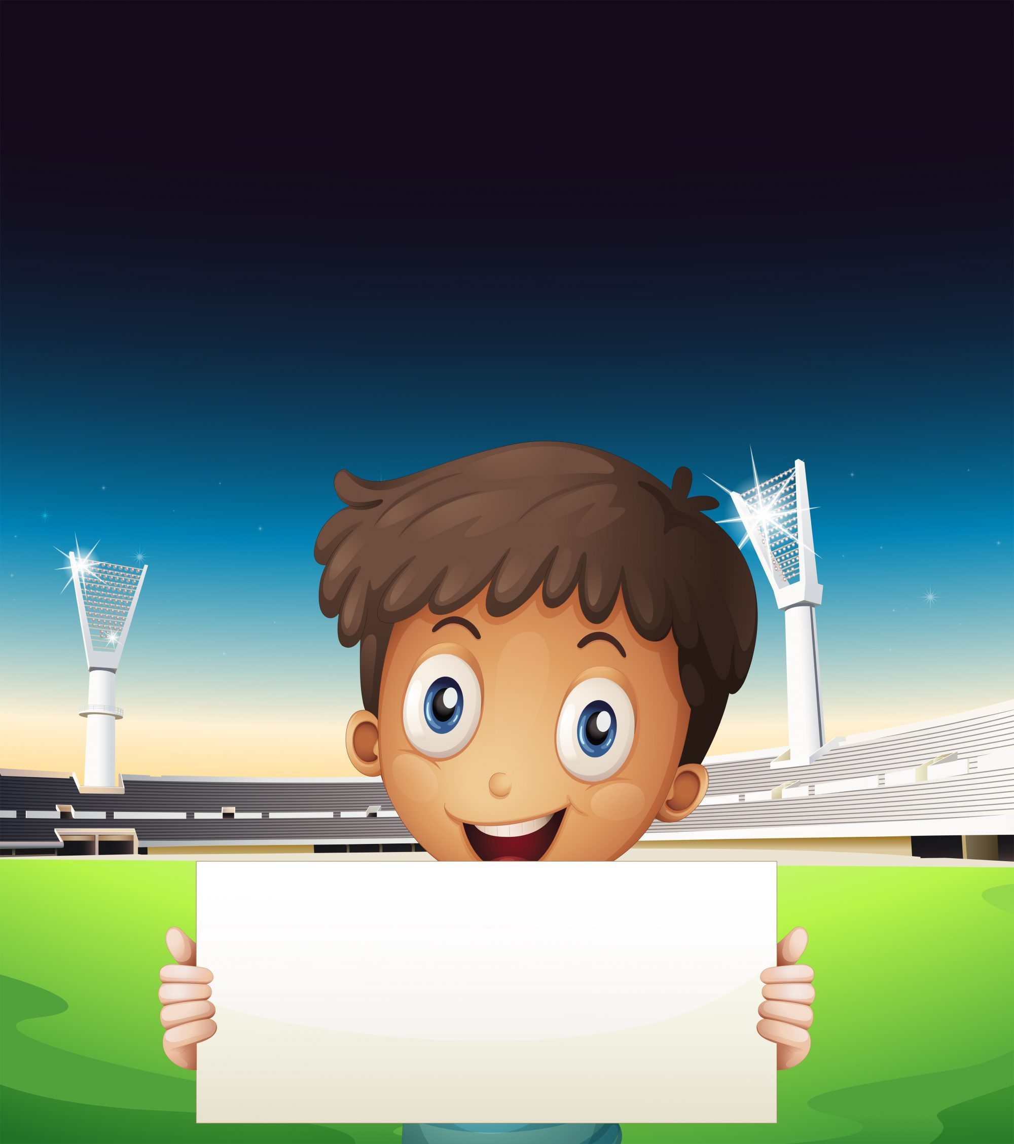 A boy at the stadium holding an empty cardboard