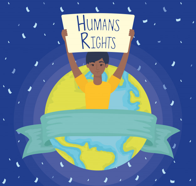 Afro young woman with human rights label and earth planet vector illustration design